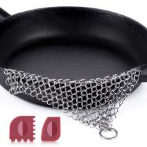 """Amagabeli Stainless Steel Cast Iron Cleaner 8""""x6"""" 316L Chainmail Scrubber Pan Scraper Cookware Accessories Pan Dutch Ovens Polycarbonate Skillet Scraper Pot Grill Brush Seasoning Cleaning Tools Set"""