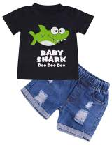 Toddler Baby Boys Girls Clothes Baby Boy Shark Doo Doo Doo Tops Denim Pants Shredded Jeans Outfit
