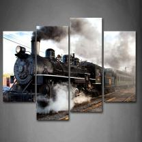 Train with Gray Smoke Steam Trains in Progress Wall Art Painting The Picture Print On Canvas Car Pictures for Home Decor Decoration Gift