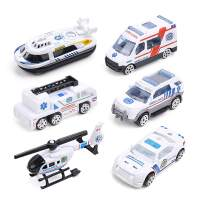 DricRoda Die-Cast Vehicle, 6 Pack Mini Toy Cars Ambulance Vehicle Truck Helicopter Alloy Diecast Cars, Back & Go Car Play Set for Kids, Toddler, Boys, Girls