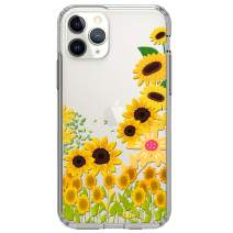 """HUIYCUU Compatible with iPhone 11 Pro Case 5.8"""", Shockproof Anti-Slip Cute Glitter Clear Design Crystal Flower Pattern Slim Fit Soft Bumper Girl Women Cover Case for iPhone 11+Pro/XI Pro, Sunflower"""