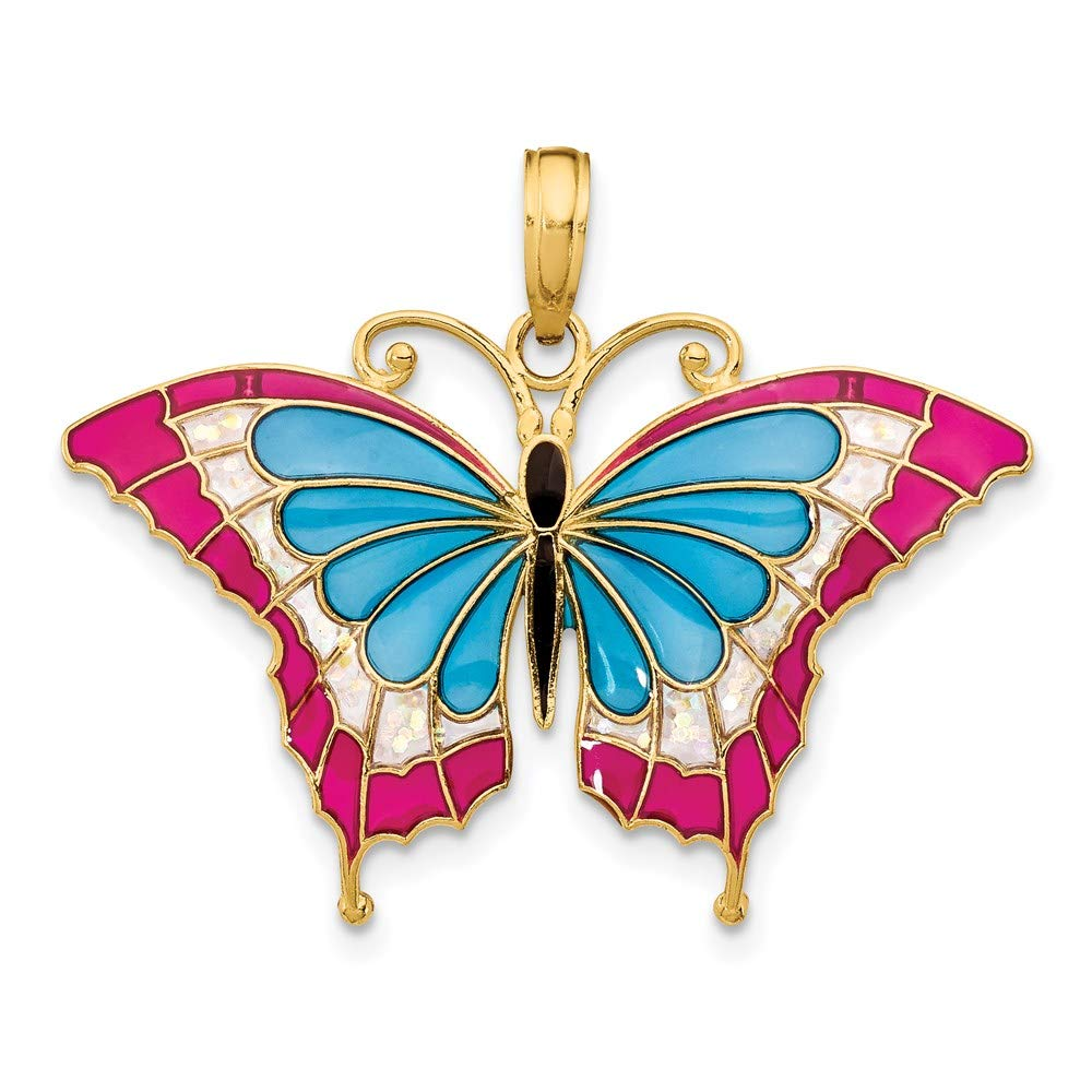 14k Yellow Gold Blue Red Enameled Butterfly Pendant Charm Necklace Animal Fine Jewelry For Women Gifts For Her