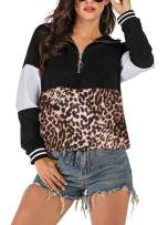 Lynwitkui Women's Hoodies 1/4 Zip Up Leopard Hooded Sweatshirts with Pocket