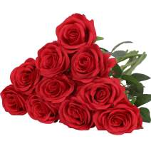 Nubry Artificial Silk Rose Flower Bouquet Lifelike Fake Rose for Wedding Home Party Decoration Event Gift 10pcs (Red)