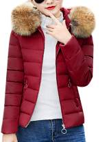 EFOFEI Womens Winter Fur Faux Hooded Outside Warm Short Down Puffer Coat