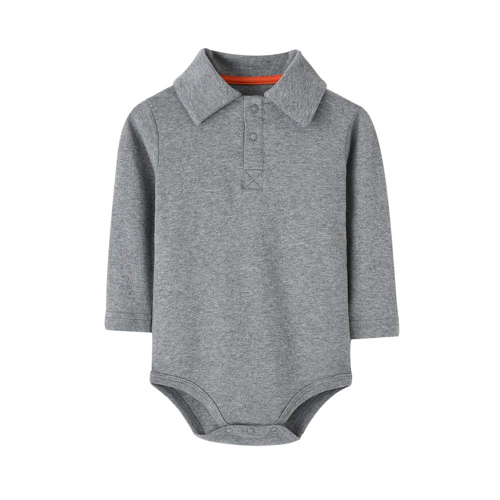 Teach Leanbh Infant Baby Polo Bodysuit Cotton Long Sleeve Pure Color Shirt 3-24 Months (6 Months, Grey)