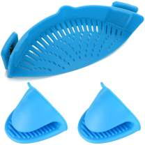 Silicone Clip-on Strainer Colander,DanziX Hands-Free Heat Resistant Drainer Filter for colander and sieve snaps on bowls,pots and pans,with 2 Silicone Gloves-Blue