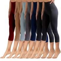 YOLIX High Waisted Capri Leggings for Women Tummy Control Soft Opaque Slim Tights for Yoga Reg & Plus Size