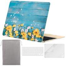 Sykiila for MacBook 12 inch Case Hard Cover 4 in 1 Folio Case & HD Screen Protector & Keyboard Cover & Sleeve for Model A1534 with Retina Display -Yellow Floral Blue Wood