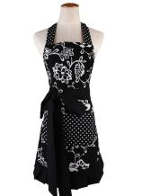 Surblue Womens Vintage Apron with 2 Pocket, Extra-Long Adjustable Tie for Cooking Home Baking Kitchen Mother's Gift,100% Organic Cotton Printing, Graceful and Flirty, Black XL (1 PC)