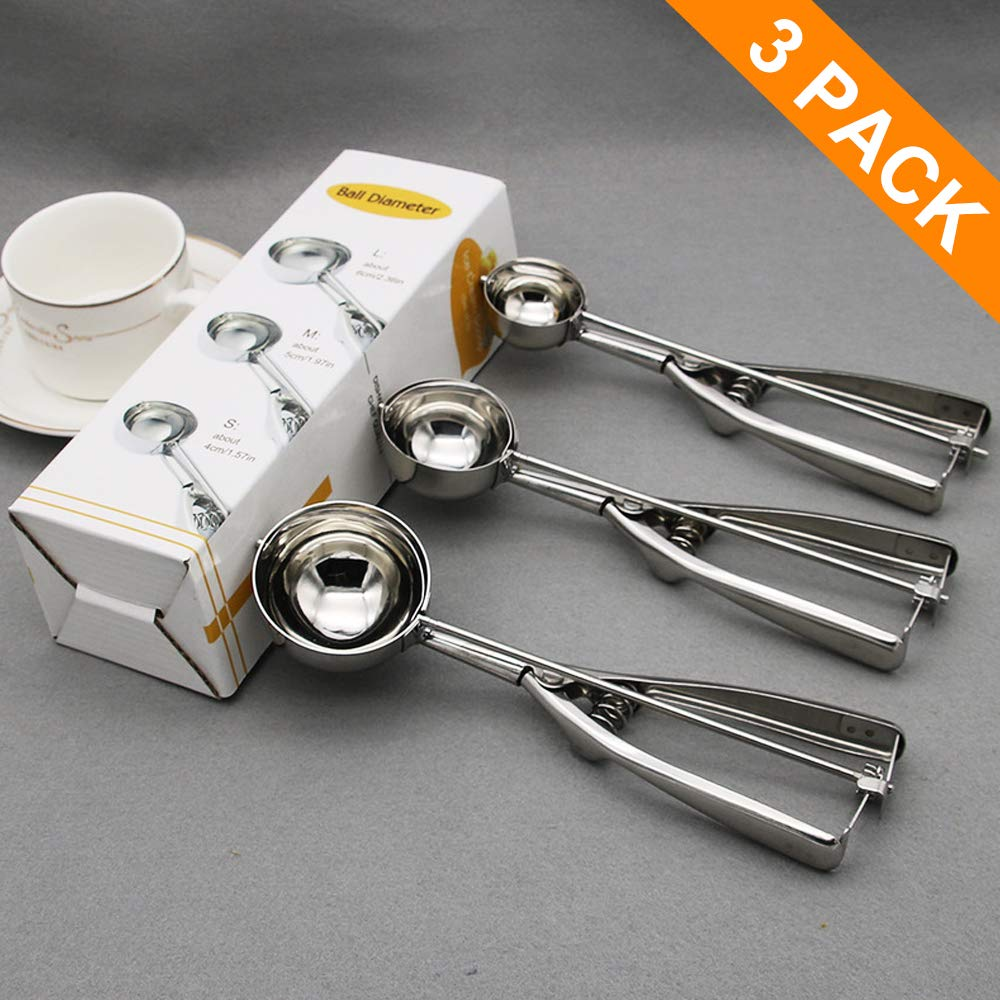 AriTan Cookie Scoop Set of 3, Stainless Steel Ice Cream Scoop Include Large-Medium-Small Size, Good Grips Squeeze Melon Disher