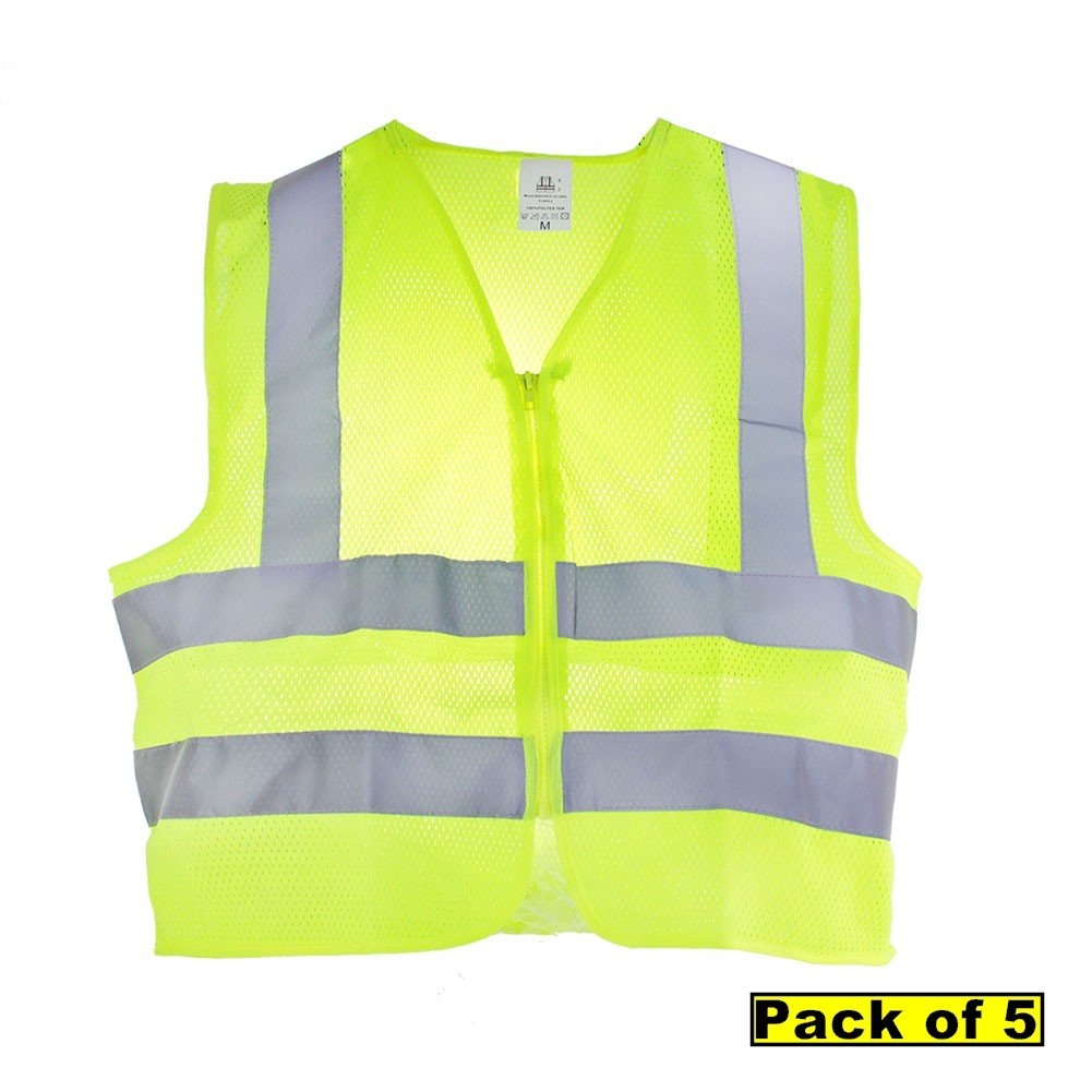 TR Industrial Neon Yellow Front Zipper Mesh Safety Vest, Size Large, Pack of 5