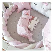 LOAOL Baby Crib Bumper Knotted Braided Plush Nursery Cradle Decor Newborn Gift Pillow Cushion Junior Bed Sleep Bumper (3 Meters, Pink-White-Pink)