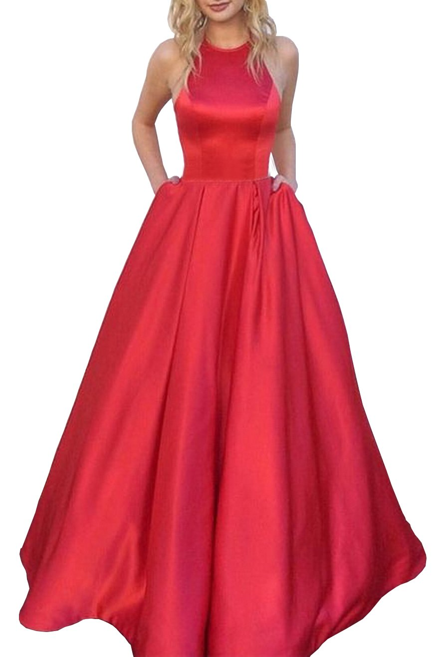 Women's Halter A-line Satin Evening Prom Dress Long Formal Party Gown with Pockets Size 16 Red