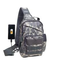 Ousawig Tactical Small Sling Backpack Chest Shoulder Bag Molle Daypack with USB Charging for Men Outdoor Cycling Hiking Camping