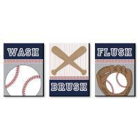 Big Dot of Happiness Batter Up - Baseball - Kids Bathroom Rules Wall Art - 7.5 x 10 inches - Set of 3 Signs - Wash, Brush, Flush