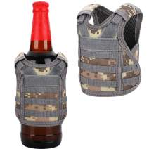 Accmor Tactical Mini Beer Vests Molle Beer Jacket Camouflage Beverage Coolie Cooler Adjustable Drink Bottle Vests Holder for 12oz or 16oz Cans or Bottles Decoration