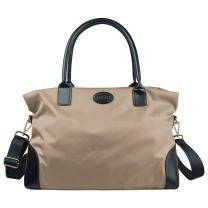ECOSUSI Duffle Bag Large Weekender Bags Nylon Overnight Bag Travel Tote with Trolley Sleeve, Beige