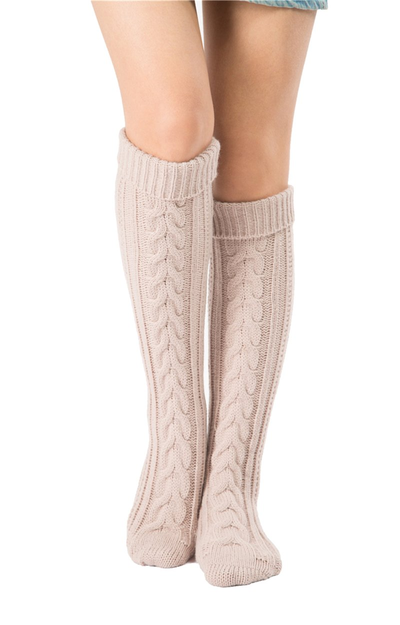 SherryDC Women's Cable Knit Long Boot Stocking Socks Knee High Winter Leg Warmers