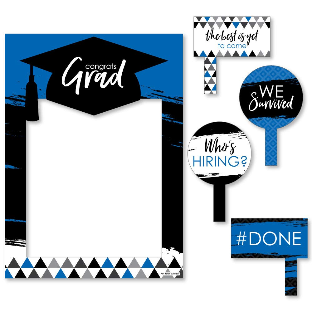 Blue Grad - Best is Yet to Come - Royal Blue Graduation Party Selfie Photo Booth Picture Frame & Props - Printed on Sturdy Material