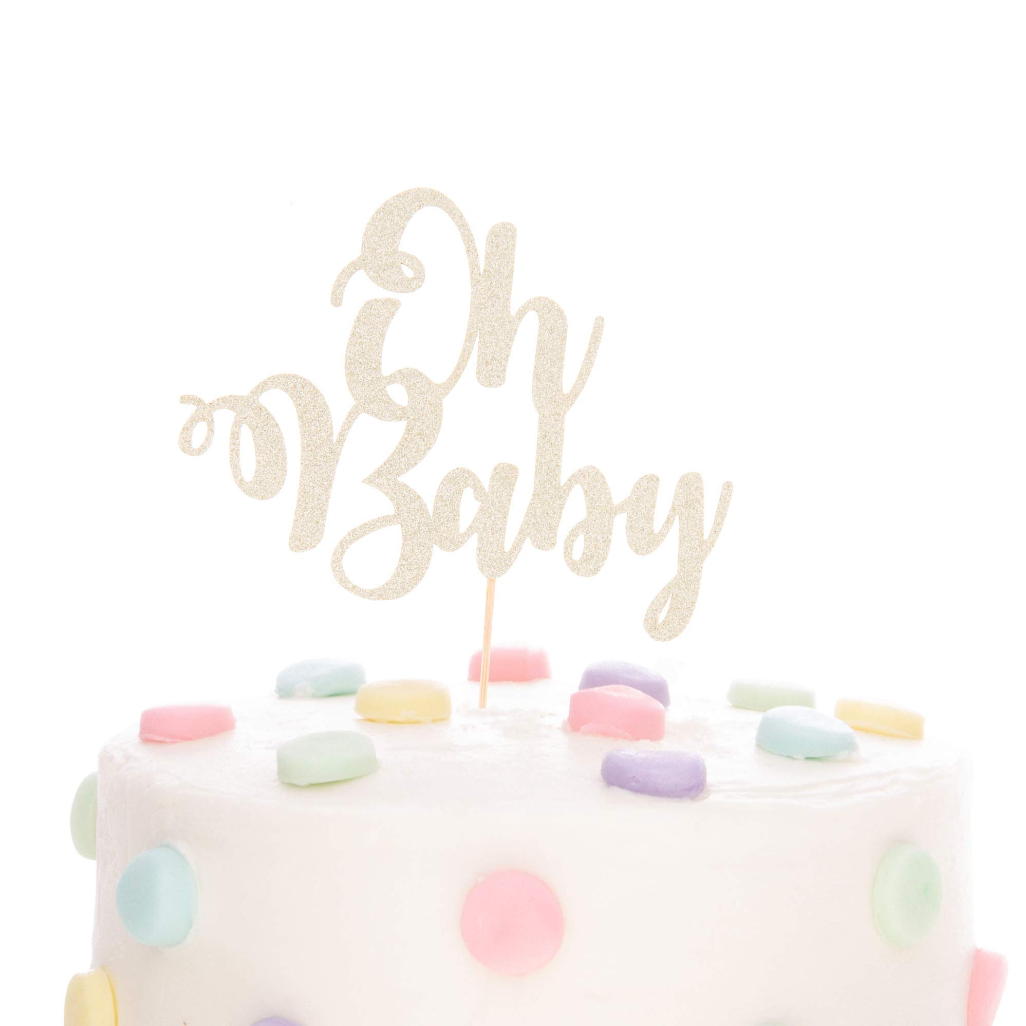 Ella Celebration Oh Baby Cake Topper Glitter Double Sided Cardstock Paperboard Toppers, Baby Shower Gender Reveal Photo Props Paper Decoration for First Birthday Celebrations (Oh Baby Light Gold)