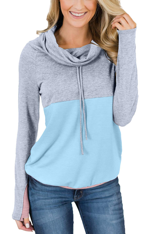 VamJump Women's Cowl Neck Sweatshirt Long Sleeve Pullover Color Block Drawstring Tunic Tops