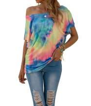 INFITTY Womens Tie Dye Short Sleeve Batwing Shirts Summer Casual Off Shoulder Top Multicolored Small