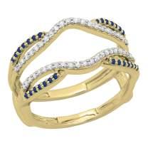 Dazzlingrock Collection 10K Round Blue Sapphire & Diamond Ladies Wedding Band Enhancer Guard Double Ring, Gold