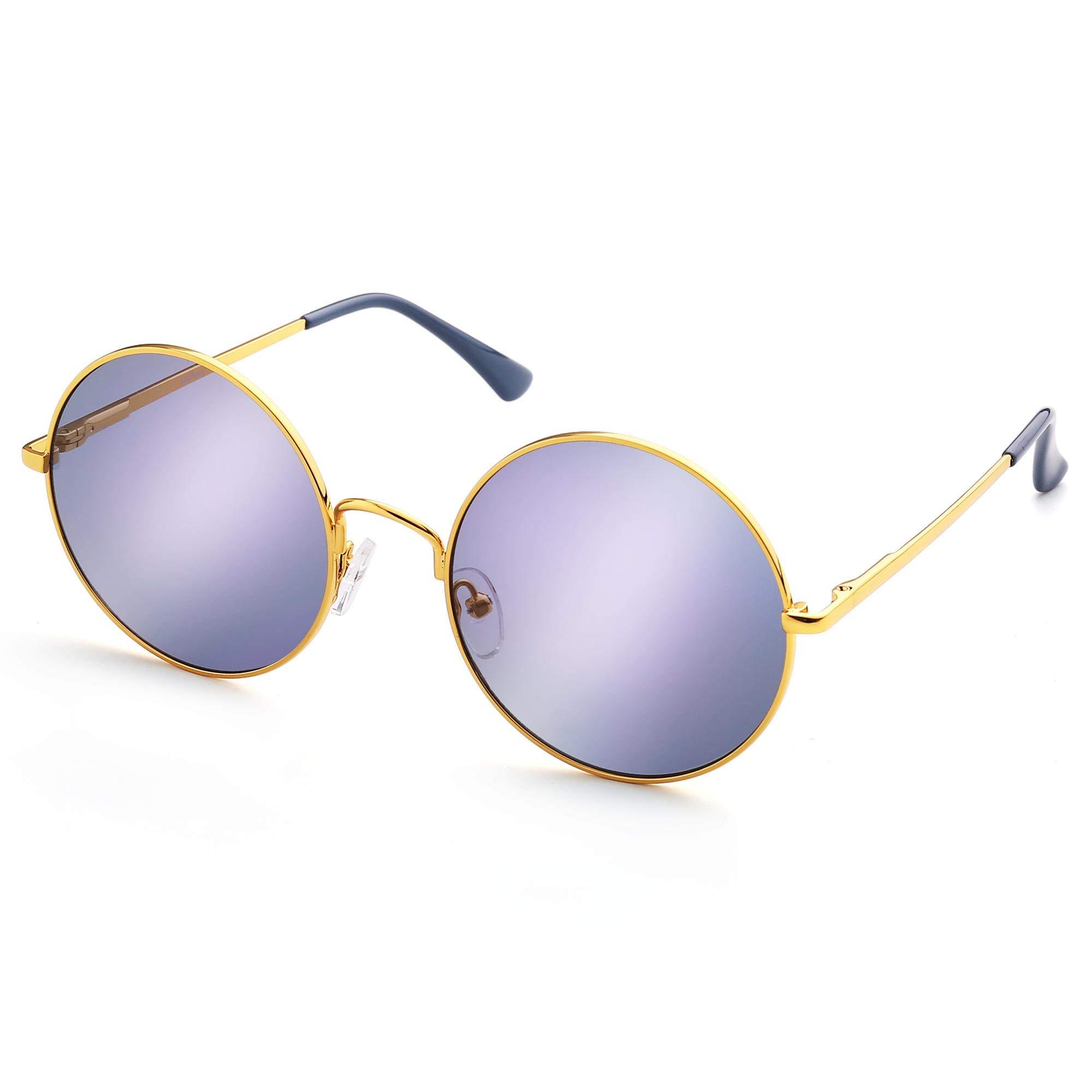 Vintage Round Sunglasses for Women Men, Mirrored Circle Sunglasses, Hippie Steampunk Style