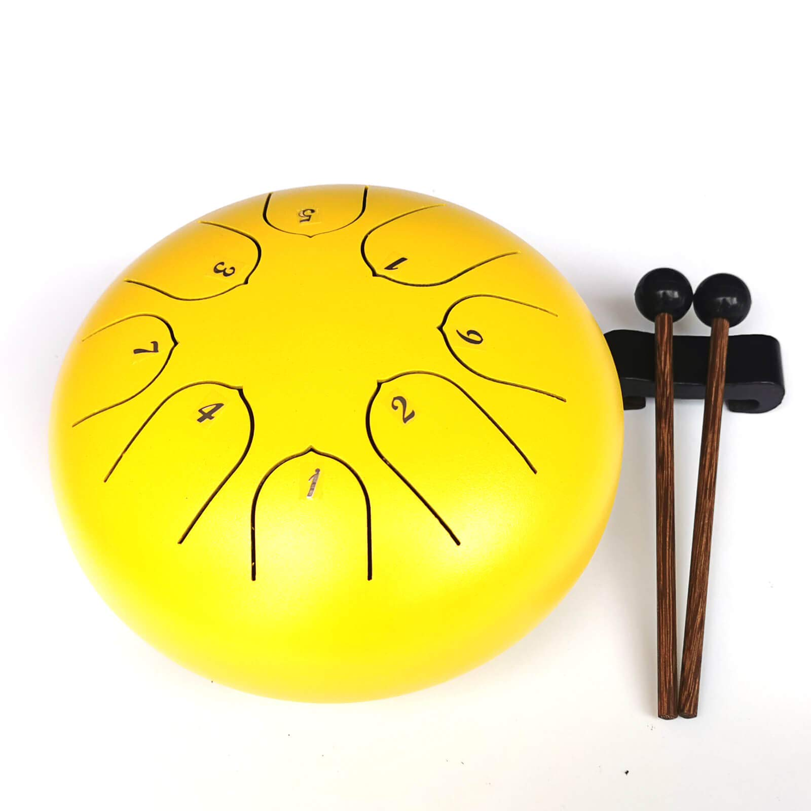 REGIS Steel Tongue Drum 8 Notes 6 Inches Chakra Tank Drum Steel Percussion Padded Travel Bag and Mallets (Yellow)