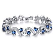 OPK Bracelets for Women - Crystal Bangle - White Gold Plated Rhinestone Cubic Zirconia Womens Jewelry Gifts for Her