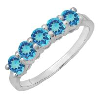 Dazzlingrock Collection 14K Round 3.8 MM Each Gemstone Ladies 5 Stone Bridal Wedding Band Anniversary Ring, White Gold