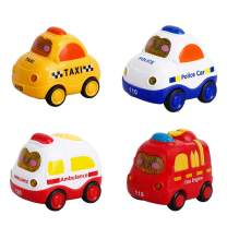 Mallya Toy Cars, Pull Back Cars for Kids Push and Go Vehicles Toys Friction Powered Car Toys Christmas Birthday Gift for 1, 2, 3 Years Old Boys and Girls (4 Pcs)