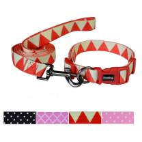 Ihoming Pet Collar Leash Set Halloween Pumpkin Combo Safety Set for Daily Outdoor Walking Running Training Small Medium Large Dogs Cats Splicing Triangle Small