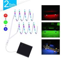 DANCRA LED Strip Light Battery Powered R,G,B Color Changing Flexible Light Strip with 3-Key Controller for Skateboard, Scooter, Party Decor (Pack of 2)