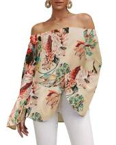 Womens Off The Shoulder Floral Tops Bell Sleeve Bohemian Ruffle Summer Shirts Casual Tunic Loose Blouses