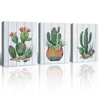 Gardenia Art Watercolor Cacti and Succulents on Wooden Texture Canvas Print Pot Flower Plants Painting Living Room Bathroom Wall Art 12x16 inch/Piece, Framed, 3 Panels