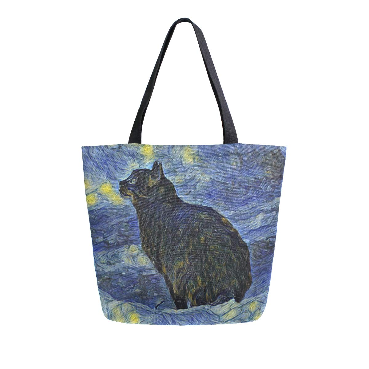 Naanle Van Gogh Canvas Tote Bag Large Women Casual Shoulder Bag Handbag, Oil Painting Galaxy Cat Reusable Multipurpose Heavy Duty Shopping Grocery Cotton Bag for Outdoors.