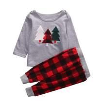 Kids Toddler Baby Boy Girl Christmas Pajamas Christmas Tree T-Shirt Tops with Plaid Pants Set