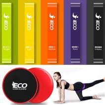 iECO Resistance Loop Exercise Bands - Gliders Exercise Discs Core Sliders - Fitness, Crossfit, Stretching, Strength Training, Physical Therapy, w/Instruction Guide, Carry Bag
