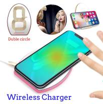 Wireless Charger, ONIPU Qi Wireless Charging Pad with Makeup Mirror Support 9V/1A Fast Charging for All Qi Enabled Phone(Pink)