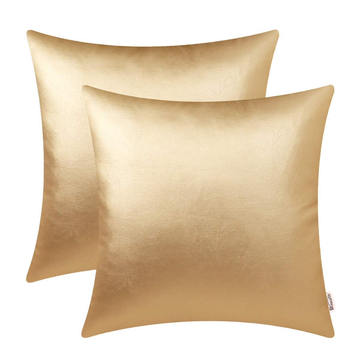 BRAWARM Pack of 2 Cozy Throw Pillow Covers Cases for Couch Sofa Home Decoration Solid Dyed Soft Faux Leather Both Sides 22 X 22 Inches Gold