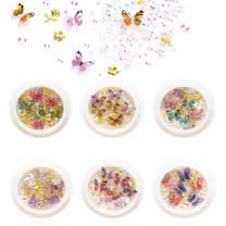 Dualshine Nail Rhinestones Crystals Metal Rivets for acrylic Nails,3D Resin Butterfly Mixed-Shape Nail Art Decoration for Nail Art Craft 6Boxes