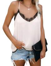 Tank Tops for Women Summer V Neck Lace Sexy Camis Sleeveless Casual Basic Strappy Velvet Blouses with Adjustable Straps