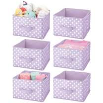 mDesign Soft Fabric Closet Storage Organizer Holder Box Bin - Attached Handle, Open Top, for Child/Kids Bedroom, Nursery, Toy Room - Fun Polka Dot Print, 6 Pack - Light Purple/White