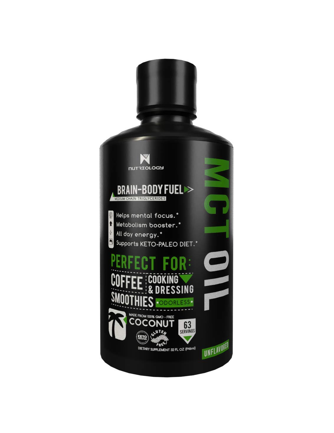 MCT Oil Keto derived from Coconut Oil - Best Keto Product for Focus and Brain Fuel - Keto Certified - 32oz
