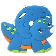 Silli Chews Infant Dinosaur Toy Baby Boys Teether Best Toddler Silicone Teething Toys Use with Pacifier Clips Blue Dino
