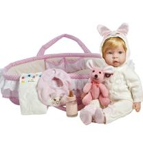 Paradise Galleries Molly & Fluffy Soft Baby Doll. 17 inch weighted baby doll comes with 8 Accessories. Age 3+