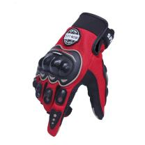 Motorcycle Gloves Motorbike Red Short Sports Leather Summer for touch-screen (L)