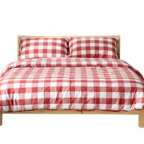 OTOB Twin Bedding Sets for Girls Boys Twin Duvet Cover Red White Gingham Collections Soft Reversible Geometric Plaid Checkered Grid Cotton with 2 Pillowcases Zipper Closure Teen Bed Sets, Twin